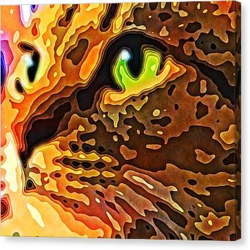 Feline Face Abstract Canvas Print by David G Paul