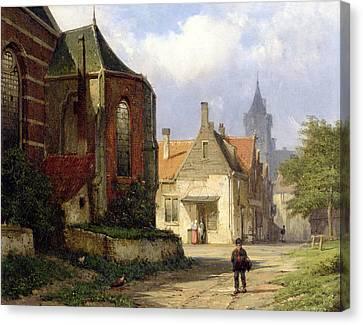 Figure Before A Redbrick Church In A Dutch Town Canvas Print by Willem Koekkoek