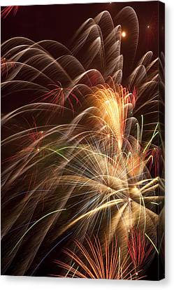 Fireworks In Night Sky Canvas Print by Garry Gay