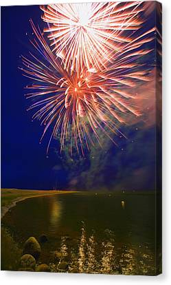 Fireworks In The Night Sky Canvas Print