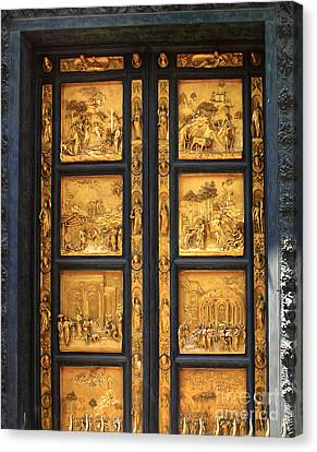 Florence Italy - Baptistry Doors Canvas Print by Gregory Dyer