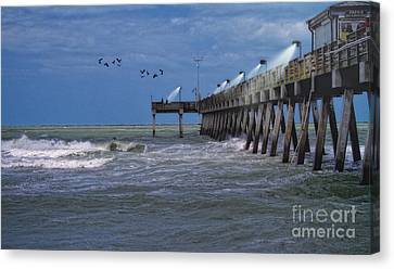 Florida Fishing Pier Canvas Print by Gina Cormier