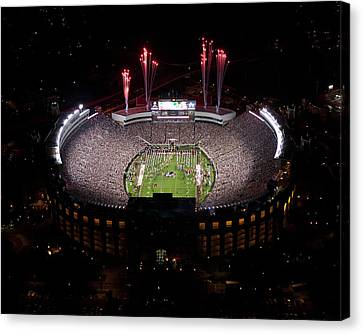 Florida State Fireworks Over Doak Campbell Stadium Aerial View Canvas Print