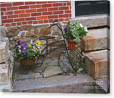 Canvas Print featuring the photograph Flower Bicycle Basket by Val Miller