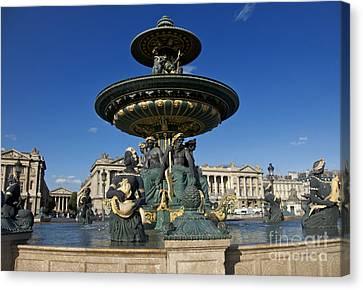 Fountain At Place De La Concorde. Paris. France Canvas Print by Bernard Jaubert