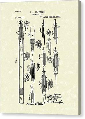 Fountain Pen 1890 Patent Art Canvas Print by Prior Art Design