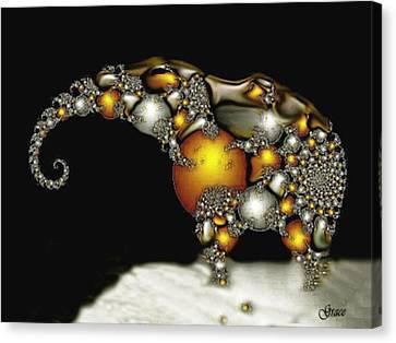 Fractal Elephant Canvas Print by Julie Grace