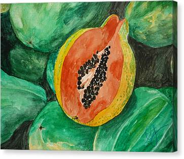 Fresh Papaya For Sale Canvas Print by Estephy Sabin Figueroa