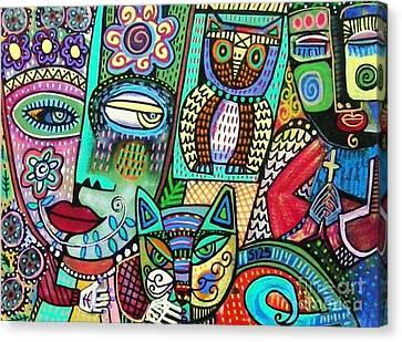 Frida's Garden Owl And Cat Canvas Print by Sandra Silberzweig