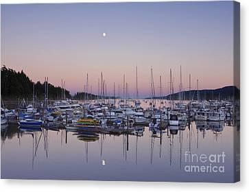 Sea Moon Full Moon Canvas Print - Full Moon Over Ganges Harbor by Rob Tilley