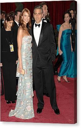 George Clooney, Sarah Larson Wearing Canvas Print by Everett