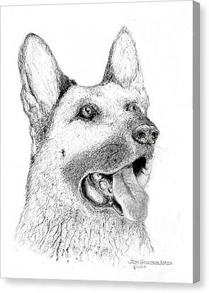 Canvas Print featuring the drawing German Shepherd Dog by Jim Hubbard