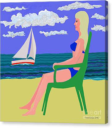 Girl At Beach Canvas Print