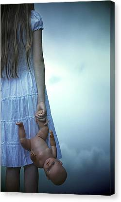 Girl With Baby Doll Canvas Print by Joana Kruse