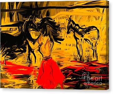 Canvas Print featuring the digital art Girl With Horses by Leo Symon