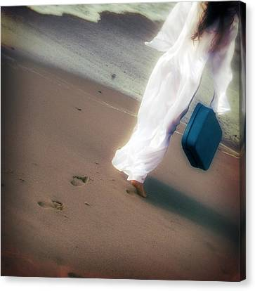 Girl With Suitcase Canvas Print by Joana Kruse