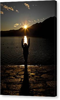 Girl With Sunset Canvas Print