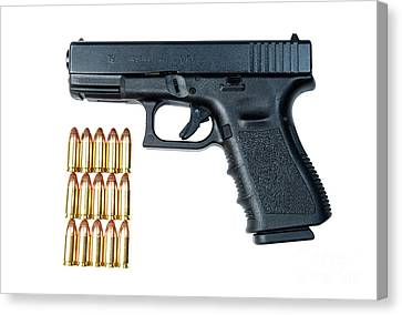 Glock Model 19 Handgun With 9mm Canvas Print by Terry Moore