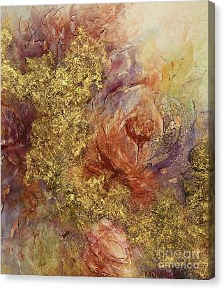 Golden Rose Path Canvas Print by Kathleen Pio