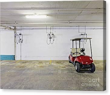 Golf Cart Parking Garage Canvas Print by Skip Nall