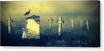 Gravestones In Moonlight Canvas Print by Jaroslaw Grudzinski