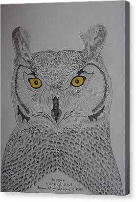 Canvas Print featuring the drawing Great Horned Owl by Gerald Strine