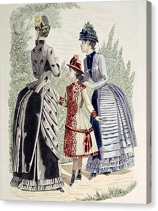 Hand-colored Engraving Of Two Women Canvas Print by Everett