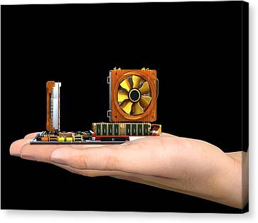 Hand With Computer Motherboard, Artwork Canvas Print by Pasieka