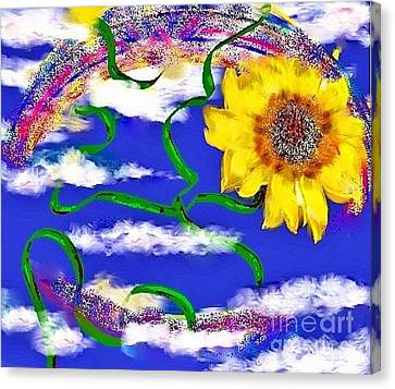 Canvas Print featuring the drawing Happiness Is A Sunflower by Lori  Lovetere