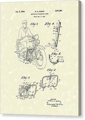 Harley Motorcycle 1934 Patent Art Canvas Print by Prior Art Design