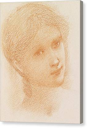 Head Study Of A Girl Canvas Print by Sir Edward Burne-Jones