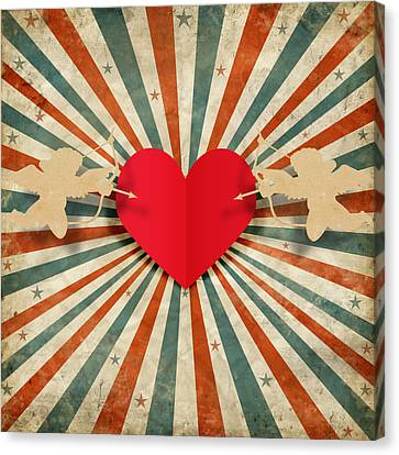 Cardboard Canvas Print - Heart And Cupid With Ray Background by Setsiri Silapasuwanchai