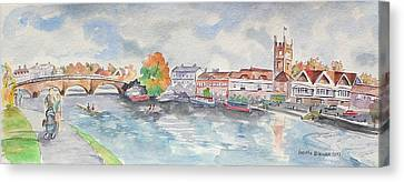 Canvas Print featuring the painting Henley On Thames by Geeta Biswas