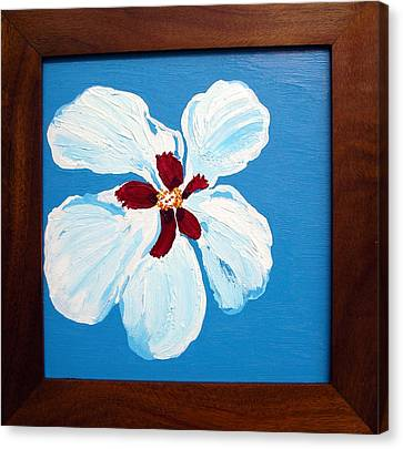 Hibiscus On Blue Canvas Print by Karen Nicholson