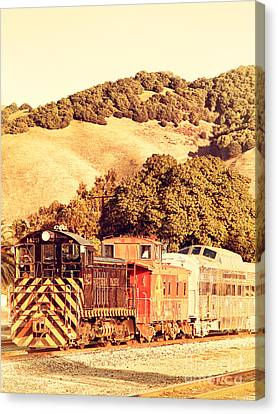 Historic Niles Trains In California . Old Southern Pacific Locomotive And Sante Fe Caboose . 7d10819 Canvas Print