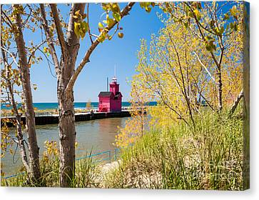 Holland Mi Lighthouse Canvas Print by Larry Carr