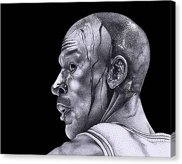 Nba Drawings Canvas Print - Homage To Jordan by Lee Appleby