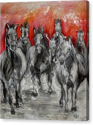 Horse Racing Canvas Print by Sanja  Prsic