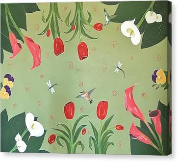 Hummingbird Garden Canvas Print by Cindy Micklos