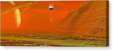 Huygens Probe Landing On Titan Canvas Print by Christian Darkin