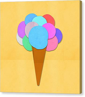 Ice Cream On Hand Made Paper Canvas Print