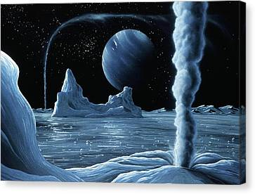 Ice Volcanoes On Triton, Artwork Canvas Print by Richard Bizley