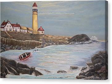 Canvas Print featuring the painting In Search Of Portland Maine - Mary Krupa by Bernadette Krupa