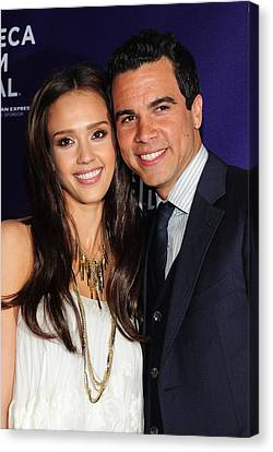 Jessica Alba, Cash Warren At Arrivals Canvas Print by Everett