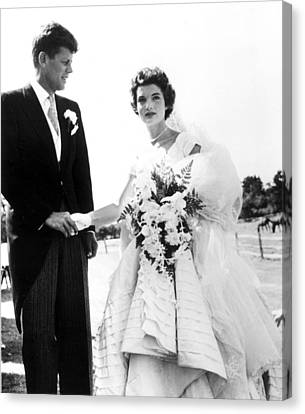 John F. Kennedy And Jacqueline Bouvier Canvas Print