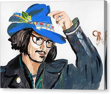 Canvas Print featuring the painting Johnny Depp 3 by Audrey Pollitt