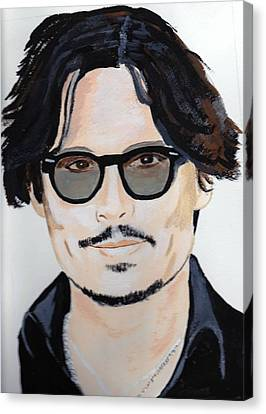 Canvas Print featuring the painting Johnny Depp 4 by Audrey Pollitt