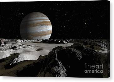 Jupiters Large Moon, Europa, Is Covered Canvas Print by Ron Miller