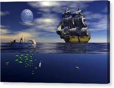 Canvas Print featuring the digital art Just Passing by Claude McCoy
