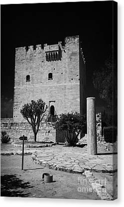 Kolossi Castle And Pillar Republic Of Cyprus Canvas Print by Joe Fox